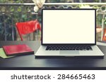 laptop computer with blank copy ... | Shutterstock . vector #284665463