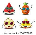 funny fruits set. design...