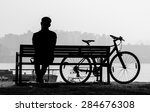 silhouette in black and white... | Shutterstock . vector #284676308