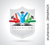 happy students with shield icon.... | Shutterstock .eps vector #284684624