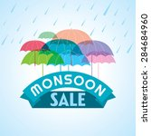 monsoon offer and sale banner ... | Shutterstock .eps vector #284684960
