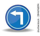 blue traffic circle shaped turn ... | Shutterstock . vector #284696894