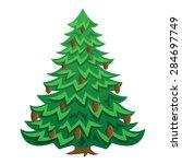 Green Christmas Cartoon Tree...