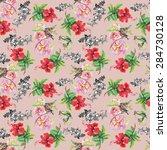 birds with watercolor garden... | Shutterstock .eps vector #284730128