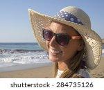 happy blonde girl smiling... | Shutterstock . vector #284735126