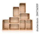 Top View Of  Wooden Boxes On...
