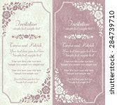 Stock vector antique baroque invitation card in old fashioned style pink and beige 284739710