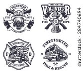 Set Of Firefighter Emblems ...