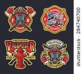 set of firefighter emblems ... | Shutterstock .eps vector #284740700