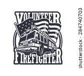 vintage firefighter emblem with ... | Shutterstock .eps vector #284740703