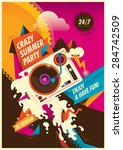 abstract summer party poster.... | Shutterstock .eps vector #284742509