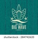 vector retro style surfing... | Shutterstock .eps vector #284742620