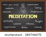 hand drawn about meditation on... | Shutterstock .eps vector #284746070