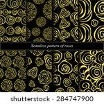 set of seamless abstract rose.... | Shutterstock .eps vector #284747900