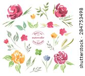 pre made frame flowers border... | Shutterstock .eps vector #284753498