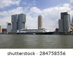 large cruise ship in rotterdam  ... | Shutterstock . vector #284758556