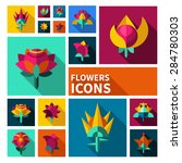 vector set of icons of flowers | Shutterstock .eps vector #284780303
