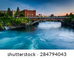 The Spokane River At Sunset  In ...