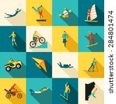 extreme sports flat long shadow ... | Shutterstock .eps vector #284801474