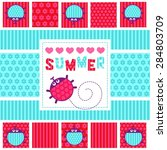 summer card ladybugs vector... | Shutterstock .eps vector #284803709