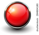 red shiny button with metallic... | Shutterstock .eps vector #284804180