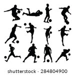 different poses of soccer... | Shutterstock .eps vector #284804900
