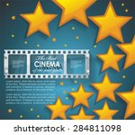 old cinema banner with gold... | Shutterstock .eps vector #284811098