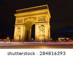 evening view of illuminated arc ... | Shutterstock . vector #284816393