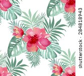 tropical background with red...   Shutterstock .eps vector #284818943