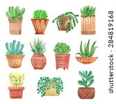 watercolor houseplants in pots... | Shutterstock .eps vector #284819168