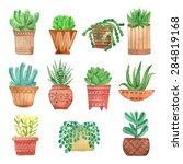 watercolor houseplants in pots... | Shutterstock .eps vector #284819168