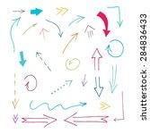 set of grunge vector hand drawn ... | Shutterstock .eps vector #284836433