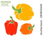 bell pepper. bright peppers on... | Shutterstock .eps vector #284842640