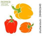 bell pepper. bright peppers on... | Shutterstock .eps vector #284842640
