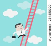 businessman climbs up the... | Shutterstock .eps vector #284850320