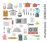 flat design of kitchen items... | Shutterstock .eps vector #284861654