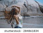 Happy Summer Girl On The Beach