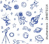 hand drawn space doodle... | Shutterstock .eps vector #284873114