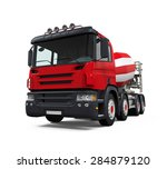 red concrete mixer truck | Shutterstock . vector #284879120