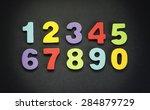wooden numbers in various... | Shutterstock . vector #284879729