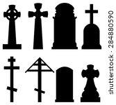 vector set of black silhouette... | Shutterstock .eps vector #284880590