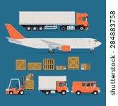 set of vector freight cargo... | Shutterstock .eps vector #284883758