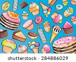 cakes and sweets on a blue... | Shutterstock . vector #284886029