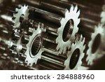 cogwheels and gears in titanium ... | Shutterstock . vector #284888960