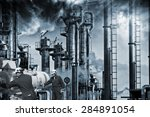 two workers with pipelines... | Shutterstock . vector #284891054