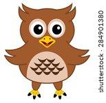 a happy brown owl | Shutterstock .eps vector #284901380