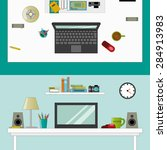 workplace in room   vector flat ... | Shutterstock .eps vector #284913983