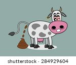 cow doing big shit | Shutterstock .eps vector #284929604