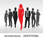 red businesswoman silhouette ...