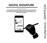 digital signature smart cell... | Shutterstock .eps vector #284955104